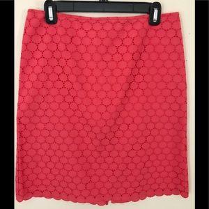 J Crew No. 2 Pencil Skirt Coral Cotton Eyelet Sz 6